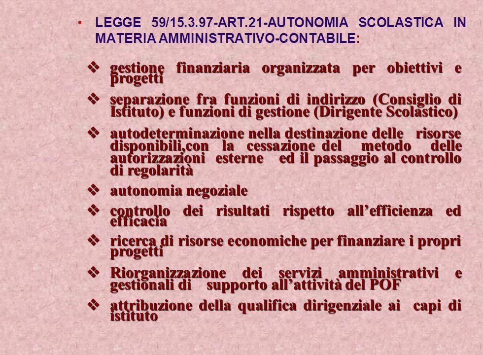 LEGGE 59/15.3.97-ART.21-AUTONOMIA SCOLASTICA IN MATERIA AMMINISTRATIVO-CONTABILE: gestione finanziaria organizzata per obiettivi e progetti gestione f
