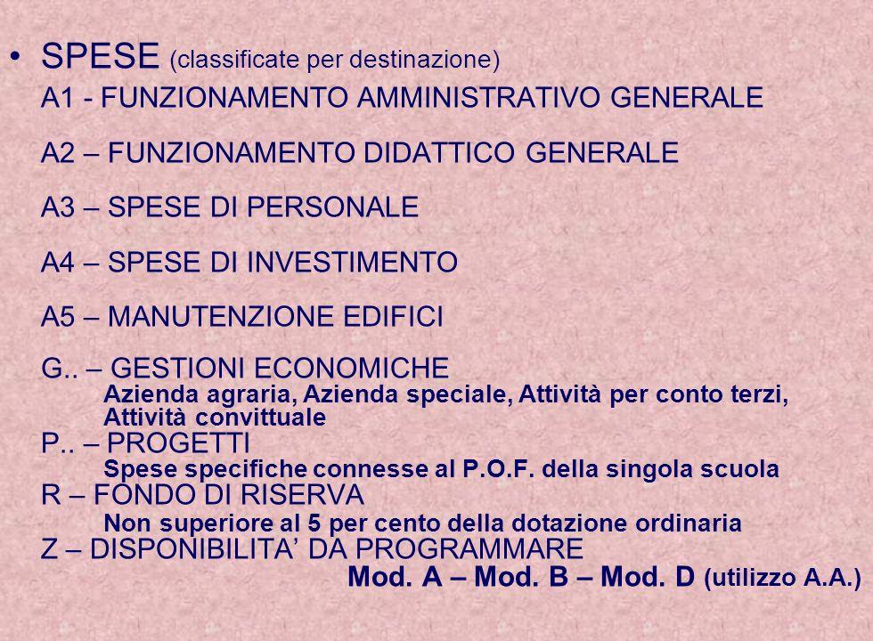 SPESE (classificate per destinazione) A1 - FUNZIONAMENTO AMMINISTRATIVO GENERALE A2 – FUNZIONAMENTO DIDATTICO GENERALE A3 – SPESE DI PERSONALE A4 – SP