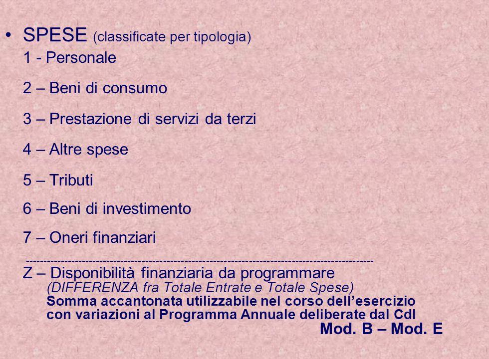 SPESE (classificate per tipologia) 1 - Personale 2 – Beni di consumo 3 – Prestazione di servizi da terzi 4 – Altre spese 5 – Tributi 6 – Beni di inves