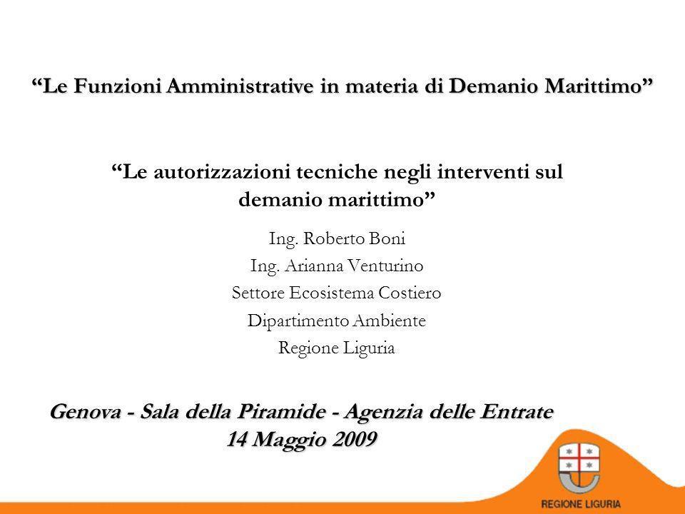 Genova - Sala della Piramide - Agenzia delle Entrate 14 Maggio 2009 Le Funzioni Amministrative in materia di Demanio Marittimo Ing.