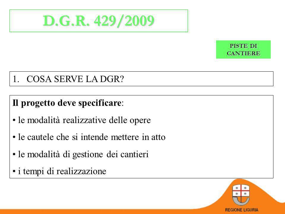 PISTE DI CANTIERE D.G.R. 429/2009 L.R.13/1999, L.R. 38/1998 integrazione dei criteri generali per la progettazione e lesecuzione delle opere di difesa