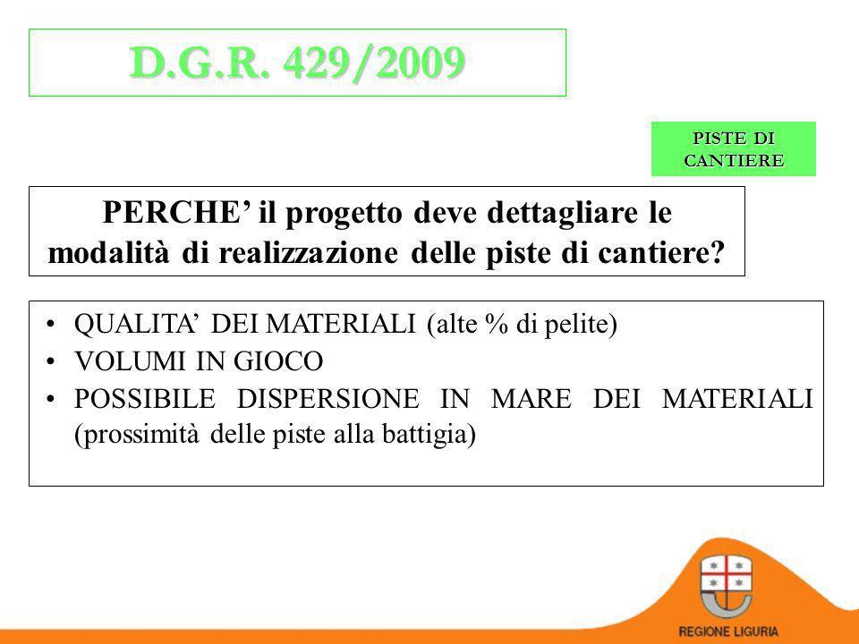D.G.R. 429/2009 1.COSA SERVE LA DGR? PISTE DI CANTIERE Il progetto deve specificare: le modalità realizzative delle opere le cautele che si intende me