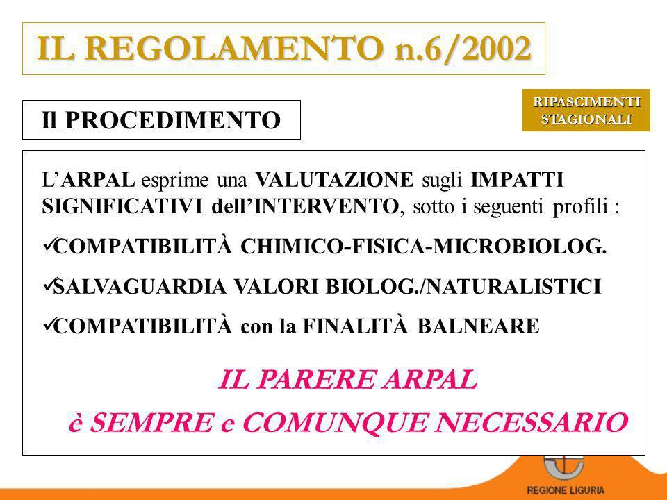 RIPASCIMENTI STAGIONALI REGOLAMENTO n.6/2002 Disciplina del procedimento relativo allapprovazione degli interventi stagionali di ripascimento degli arenili.