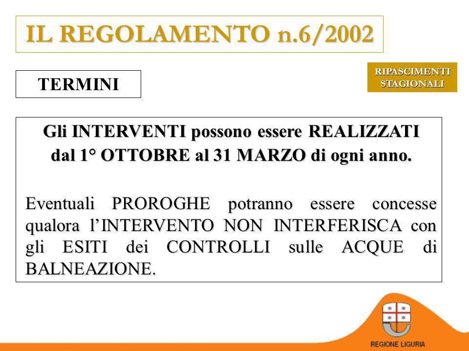 IL REGOLAMENTO n.6/2002 ADEMPIMENTI del PROPONENTE REALIZZARE lintervento nei termini e nei modi indicati nellautorizzazione COMUNICARE preventivament