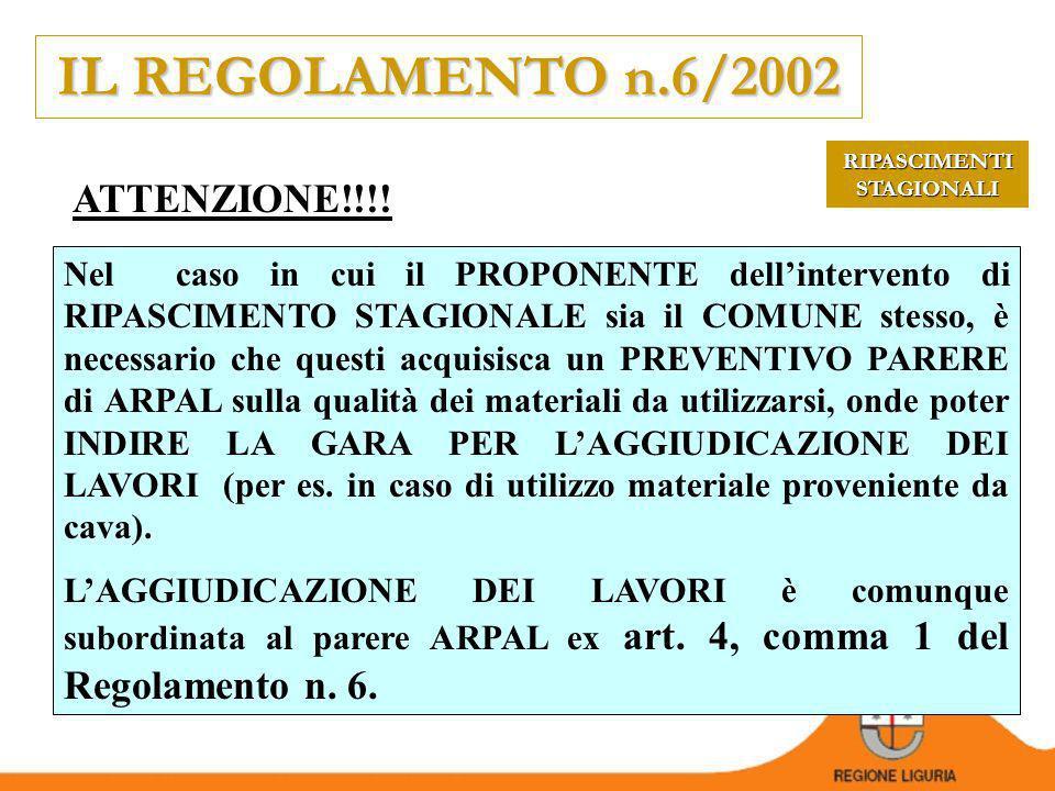 IL REGOLAMENTO n.6/2002 CHI FA COSA.