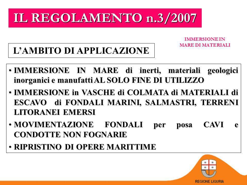 IMMERSIONE IN MARE DI MATERIALI REGOLAMENTO n.3/2007 Norme per il rilascio dellautorizzazione allimmersione in mare di materiali ed attività di posa in mare di cavi e condotte ex art.109 D.Lgs.