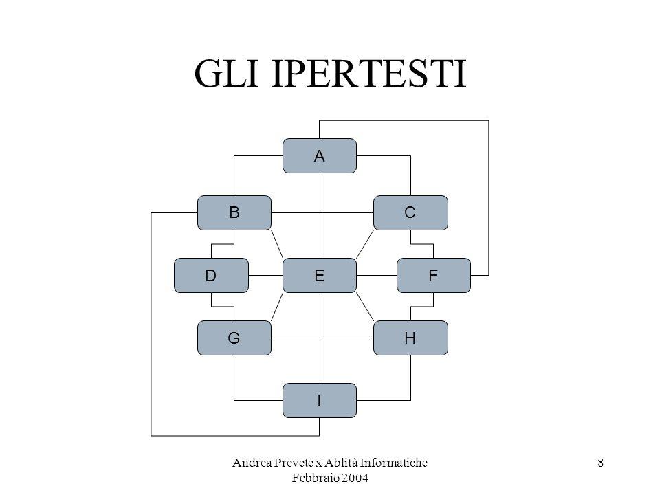 Andrea Prevete x Ablità Informatiche Febbraio 2004 8 GLI IPERTESTI A B D G C F H E I