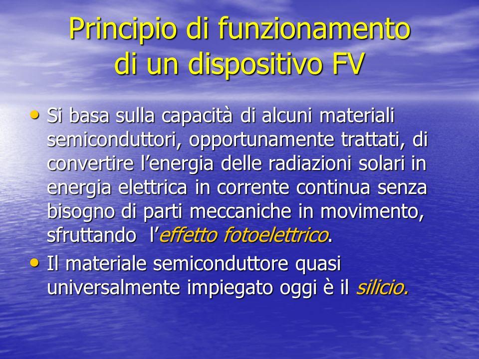 Principio di funzionamento di un dispositivo FV Si basa sulla capacità di alcuni materiali semiconduttori, opportunamente trattati, di convertire lene