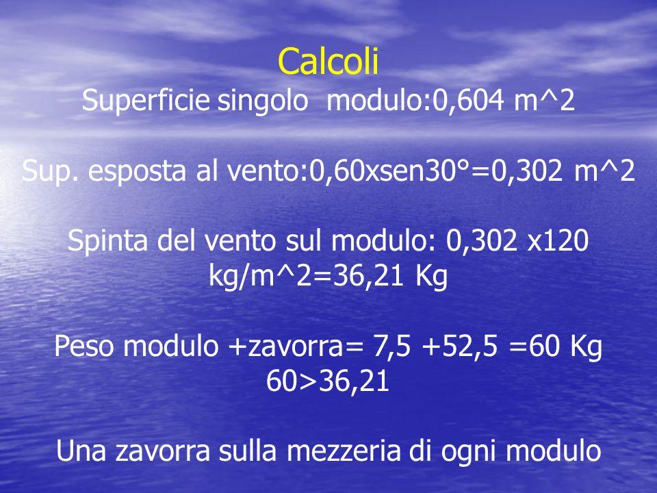 Calcoli Superficie singolo modulo:0,604 m^2 Sup. esposta al vento:0,60xsen30°=0,302 m^2 Spinta del vento sul modulo: 0,302 x120 kg/m^2=36,21 Kg Peso m