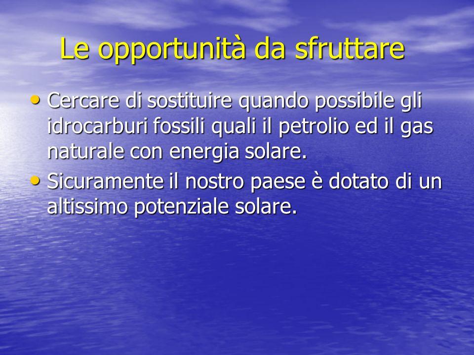 Le opportunità da sfruttare Cercare di sostituire quando possibile gli idrocarburi fossili quali il petrolio ed il gas naturale con energia solare. Ce