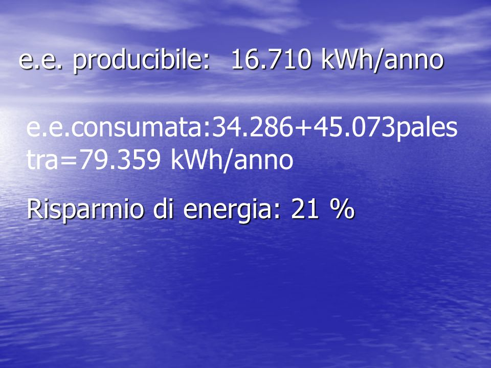 e.e. producibile: 16.710 kWh/anno e.e.consumata:34.286+45.073pales tra=79.359 kWh/anno Risparmio di energia: 21 %