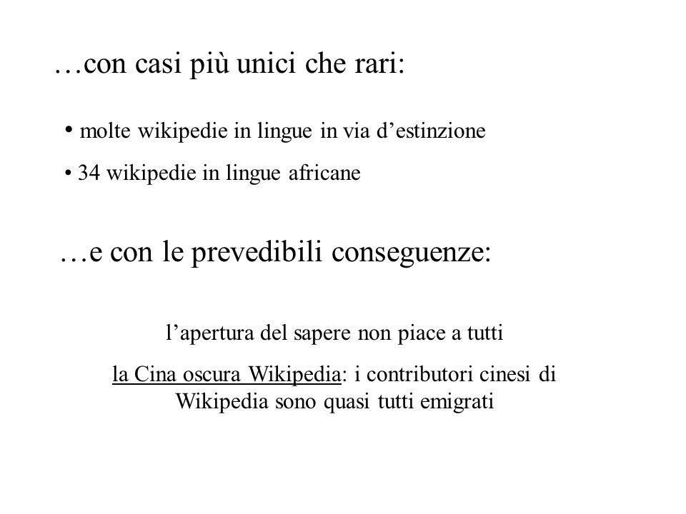 …con casi più unici che rari: molte wikipedie in lingue in via destinzione 34 wikipedie in lingue africane …e con le prevedibili conseguenze: lapertur