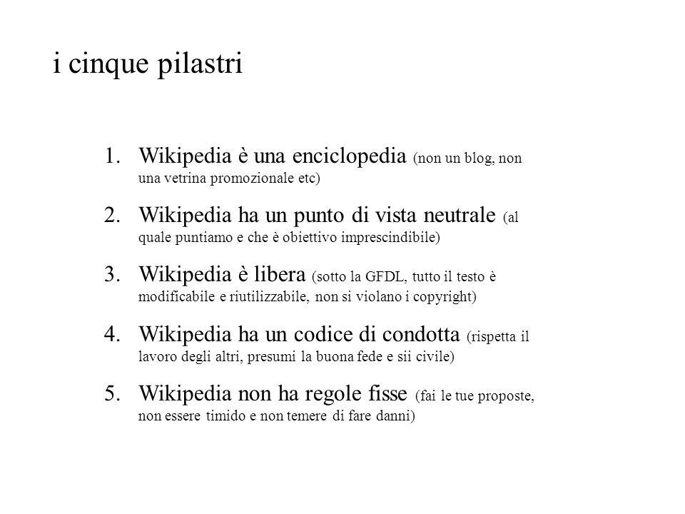 i cinque pilastri 1.Wikipedia è una enciclopedia (non un blog, non una vetrina promozionale etc) 2.Wikipedia ha un punto di vista neutrale (al quale p