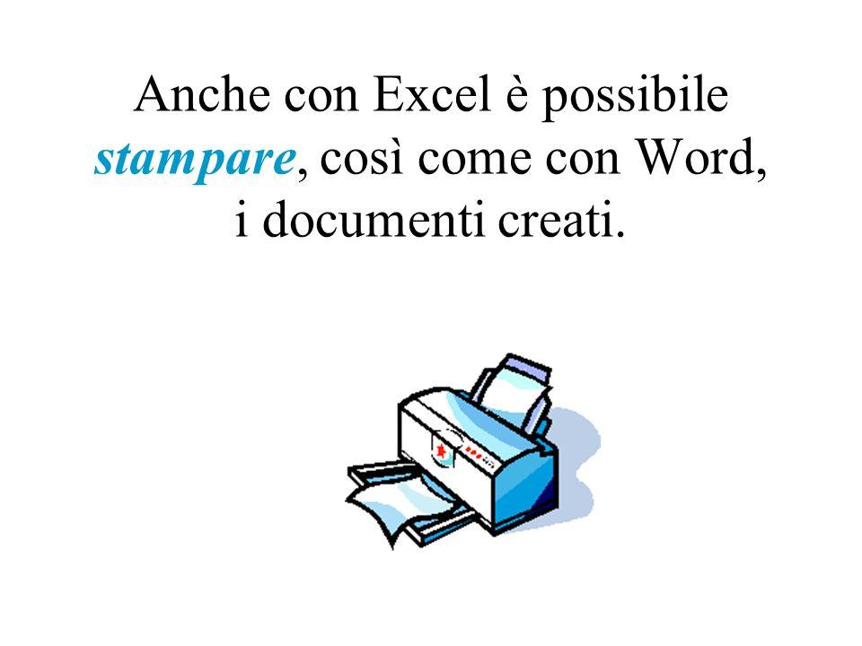Anche con Excel è possibile stampare, così come con Word, i documenti creati.