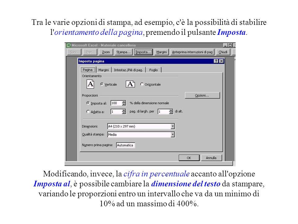 Tra le varie opzioni di stampa, ad esempio, c è la possibilità di stabilire l orientamento della pagina, premendo il pulsante Imposta.
