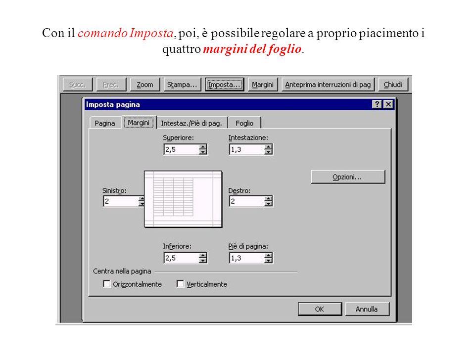 Tra le varie opzioni di stampa, ad esempio, c'è la possibilità di stabilire l'orientamento della pagina, premendo il pulsante Imposta. Modificando, in