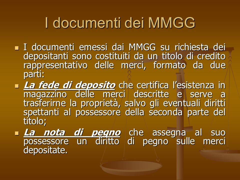 I documenti dei MMGG I documenti emessi dai MMGG su richiesta dei depositanti sono costituiti da un titolo di credito rappresentativo delle merci, for