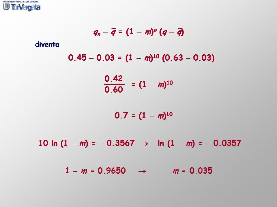 q n q = (1 m) n (q q) diventa 0.45 0.03 = (1 m) 10 (0.63 0.03) q n q = (1 m) n (q q) diventa 0.45 0.03 = (1 m) 10 (0.63 0.03) 0.42 = (1 m) 10 0.60 q n
