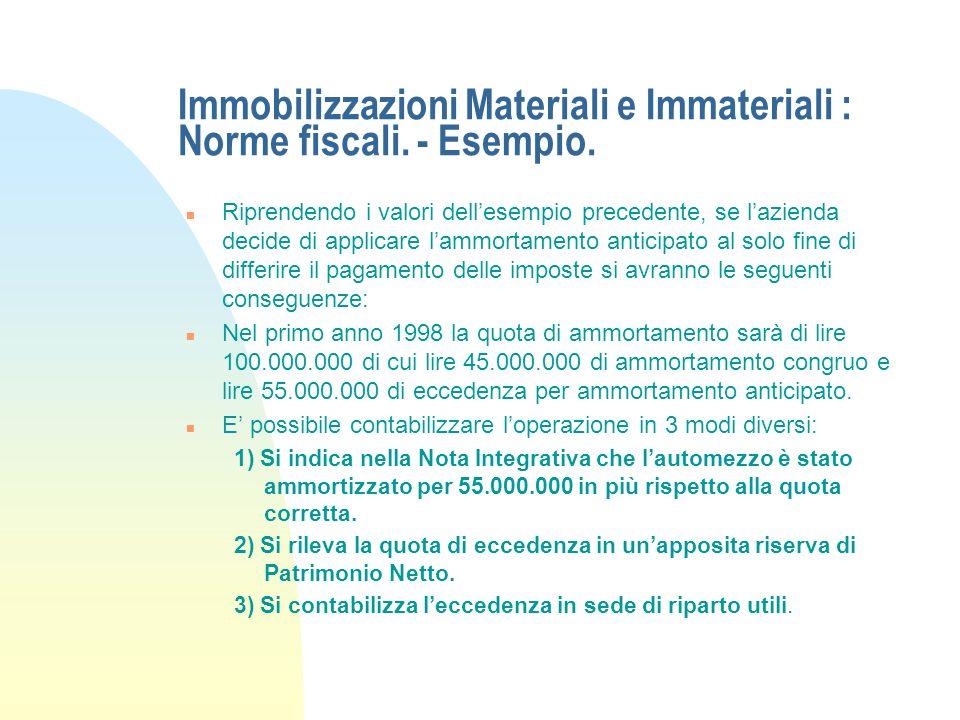 Immobilizzazioni Materiali e Immateriali : Norme fiscali. - Segue ammortamento. n Ammortamento Integrale o Immediato: può essere applicato per i beni
