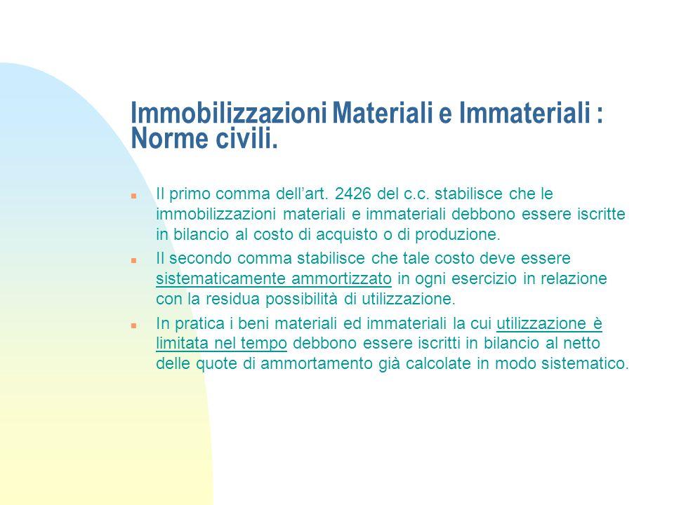 Riferimenti normativi. n Art. 2426 c.c. - Criteri di valutazione; n Art. 2423 c.c. - Clausola generale: chiarezza, verità e correttezza; n Art. 2423 b