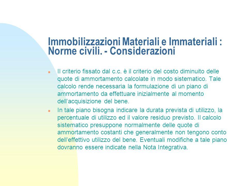 Immobilizzazioni Materiali e Immateriali : Norme civili. n Il primo comma dellart. 2426 del c.c. stabilisce che le immobilizzazioni materiali e immate