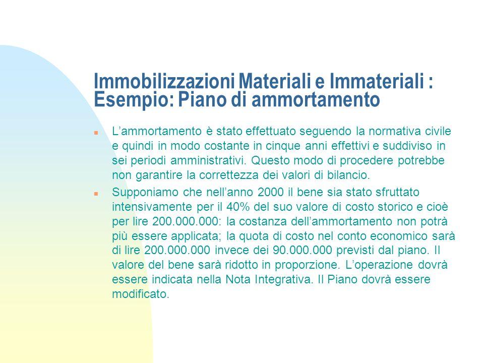 Immobilizzazioni Materiali e Immateriali : Esempio: Piano di ammortamento n In data 01-07-98 lazienda acquista un Automezzo del costo di lire 500.000.