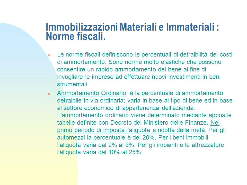 Immobilizzazioni Materiali e Immateriali : Esempio: Piano di ammortamento n Lammortamento è stato effettuato seguendo la normativa civile e quindi in