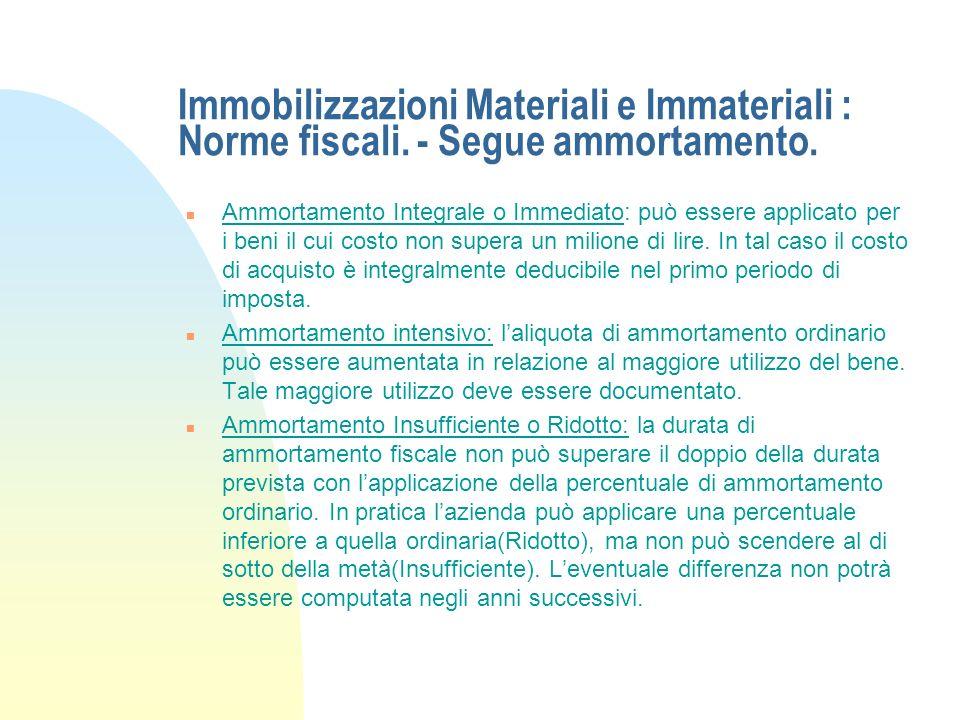 Immobilizzazioni Materiali e Immateriali : Norme fiscali. - Segue ammortamento. n Ammortamento Anticipato: può essere applicato nel primo periodo di i