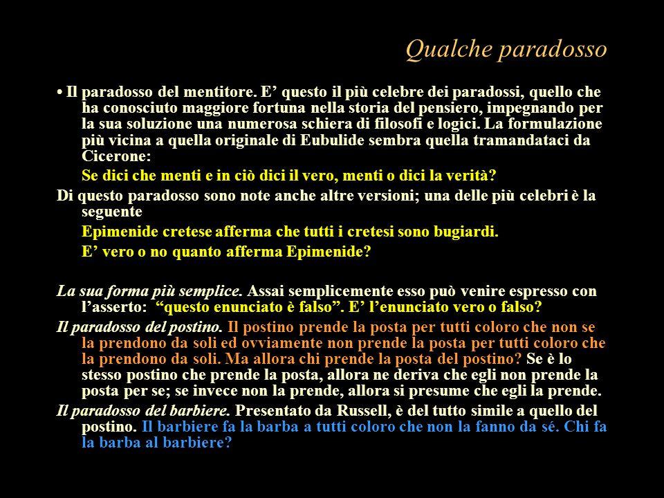 Qualche paradosso Il paradosso del mentitore. E questo il più celebre dei paradossi, quello che ha conosciuto maggiore fortuna nella storia del pensie