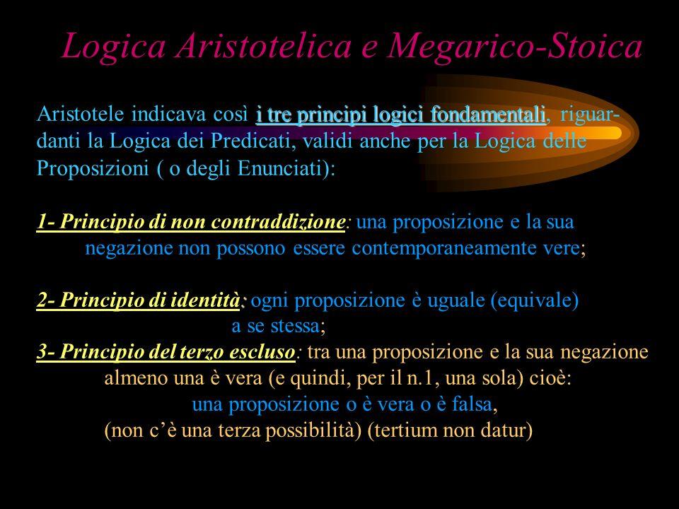 Logica Aristotelica e Megarico-Stoica i tre principi logici fondamentali Aristotele indicava così i tre principi logici fondamentali, riguar- danti la