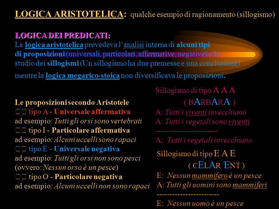 LOGICA ARISTOTELICA: qualche esempio di ragionamento (sillogismo) LOGICA DEI PREDICATI: La logica aristotelica prevedeva lanalisi interna di alcuni ti