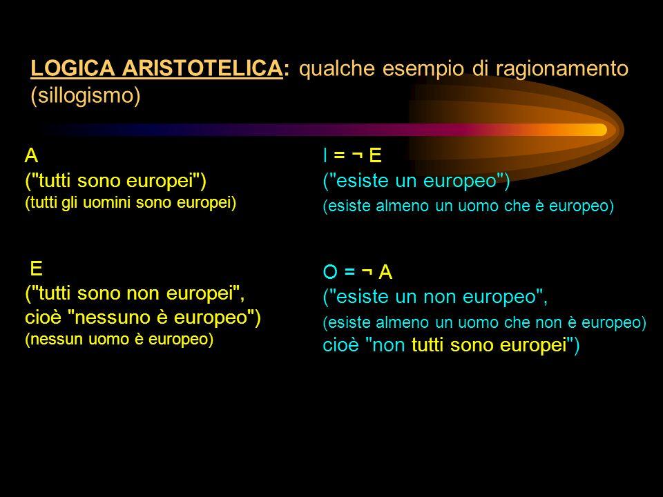 LOGICA ARISTOTELICA: qualche esempio di ragionamento (sillogismo) A (