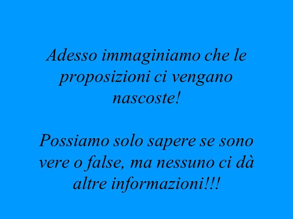 Adesso immaginiamo che le proposizioni ci vengano nascoste! Possiamo solo sapere se sono vere o false, ma nessuno ci dà altre informazioni!!!