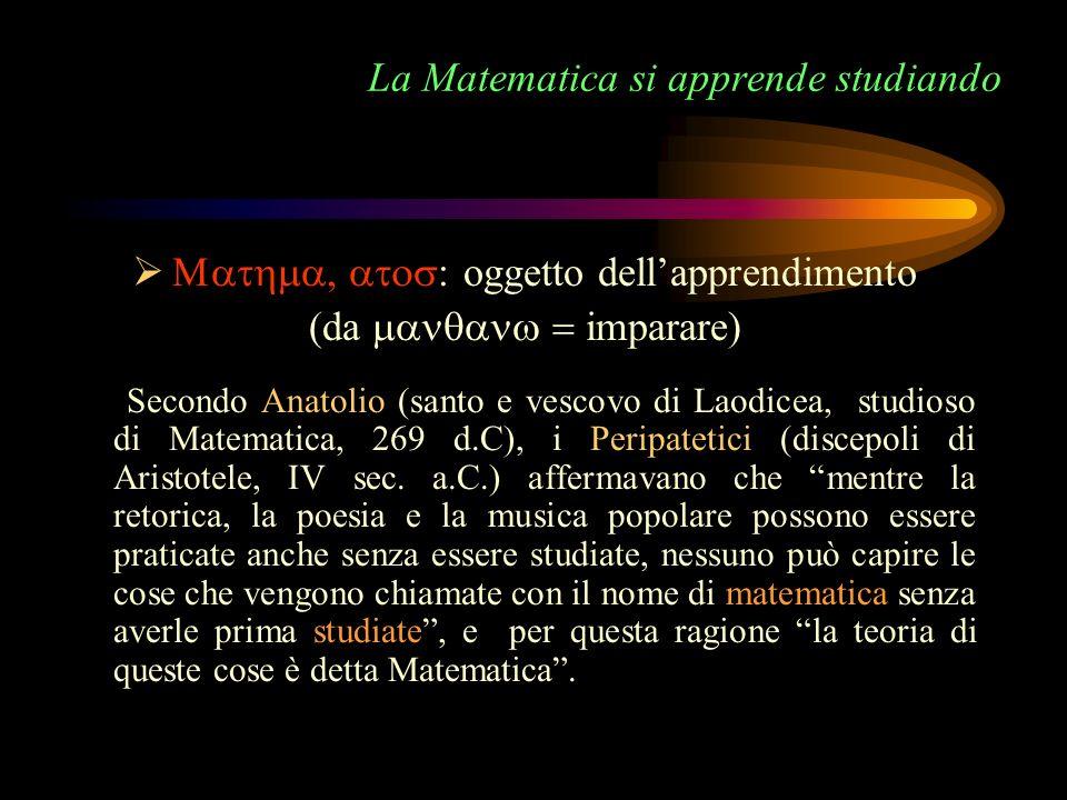 La Matematica si apprende studiando oggetto dellapprendimento (da imparare) Secondo Anatolio (santo e vescovo di Laodicea, studioso di Matematica, 269