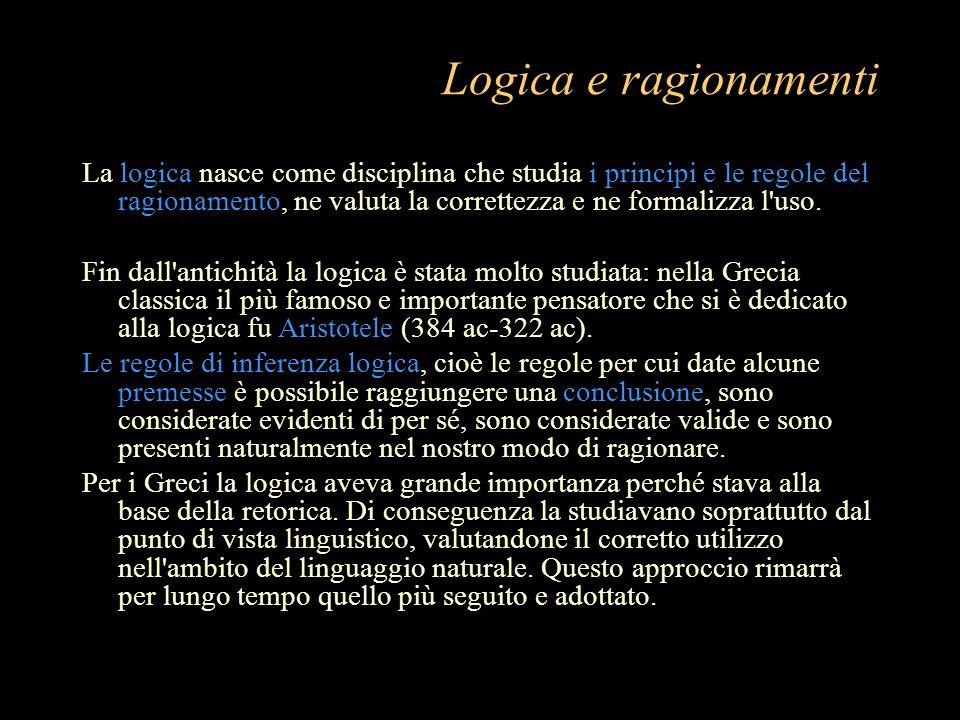 Logica e ragionamenti La logica nasce come disciplina che studia i principi e le regole del ragionamento, ne valuta la correttezza e ne formalizza l'u