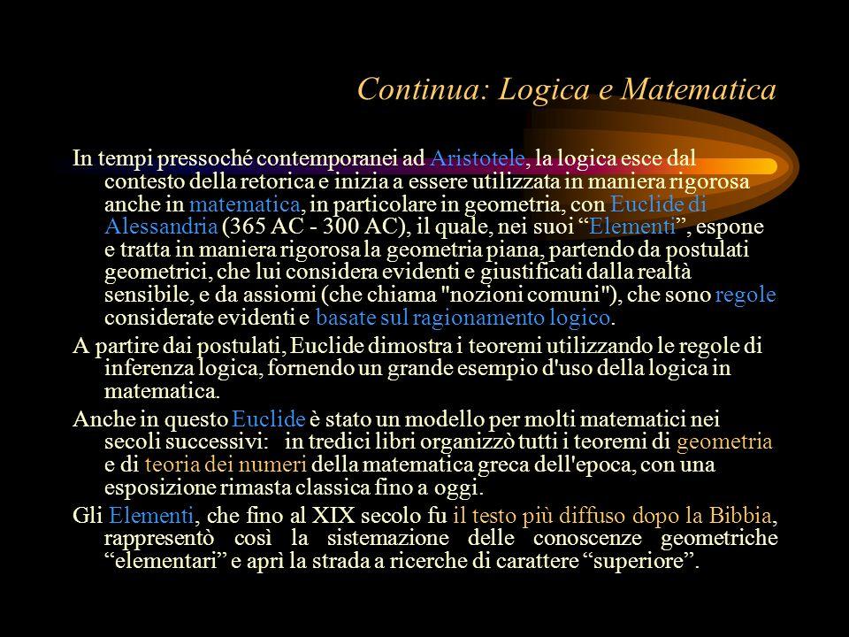 Continua: Logica e Matematica In tempi pressoché contemporanei ad Aristotele, la logica esce dal contesto della retorica e inizia a essere utilizzata