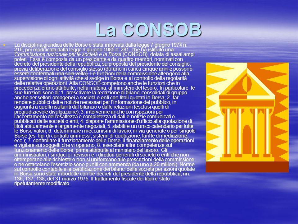 La CONSOB La disciplina giuridica delle Borse è stata innovata dalla legge 7 giugno 1974 n. 216, poi modificata dalla legge 4 giugno 1985 n. 281, che