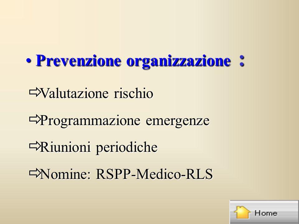 Prevenzione organizzazione : Prevenzione organizzazione : ð Valutazione rischio ð Programmazione emergenze ð Riunioni periodiche ð Nomine: RSPP-Medico-RLS