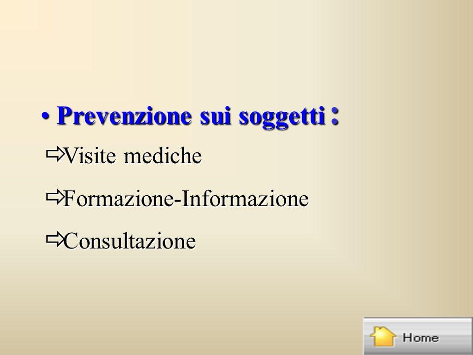 Prevenzione sui soggetti : Prevenzione sui soggetti : ð Visite mediche ð Formazione-Informazione ð Consultazione