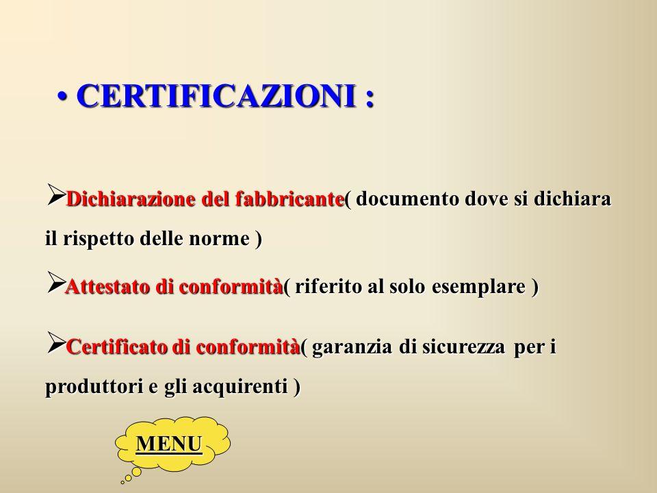 CERTIFICAZIONI : CERTIFICAZIONI : Dichiarazione del fabbricante( documento dove si dichiara Dichiarazione del fabbricante( documento dove si dichiara il rispetto delle norme ) Attestato di conformità( riferito al solo esemplare ) Attestato di conformità( riferito al solo esemplare ) Certificato di conformità( garanzia di sicurezza per i Certificato di conformità( garanzia di sicurezza per i produttori e gli acquirenti ) MENU
