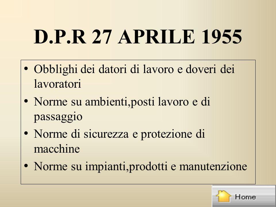 D.P.R 27 APRILE 1955 Obblighi dei datori di lavoro e doveri dei lavoratori Norme su ambienti,posti lavoro e di passaggio Norme di sicurezza e protezione di macchine Norme su impianti,prodotti e manutenzione