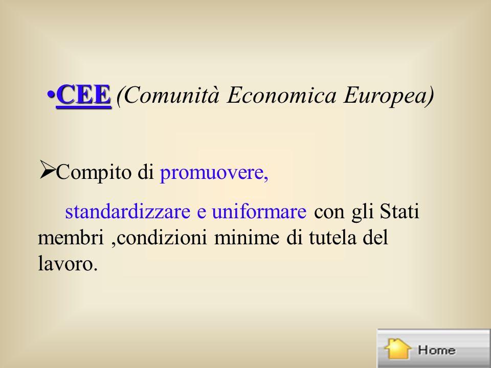 CEECEE (Comunità Economica Europea) Compito di promuovere, standardizzare e uniformare con gli Stati membri,condizioni minime di tutela del lavoro.