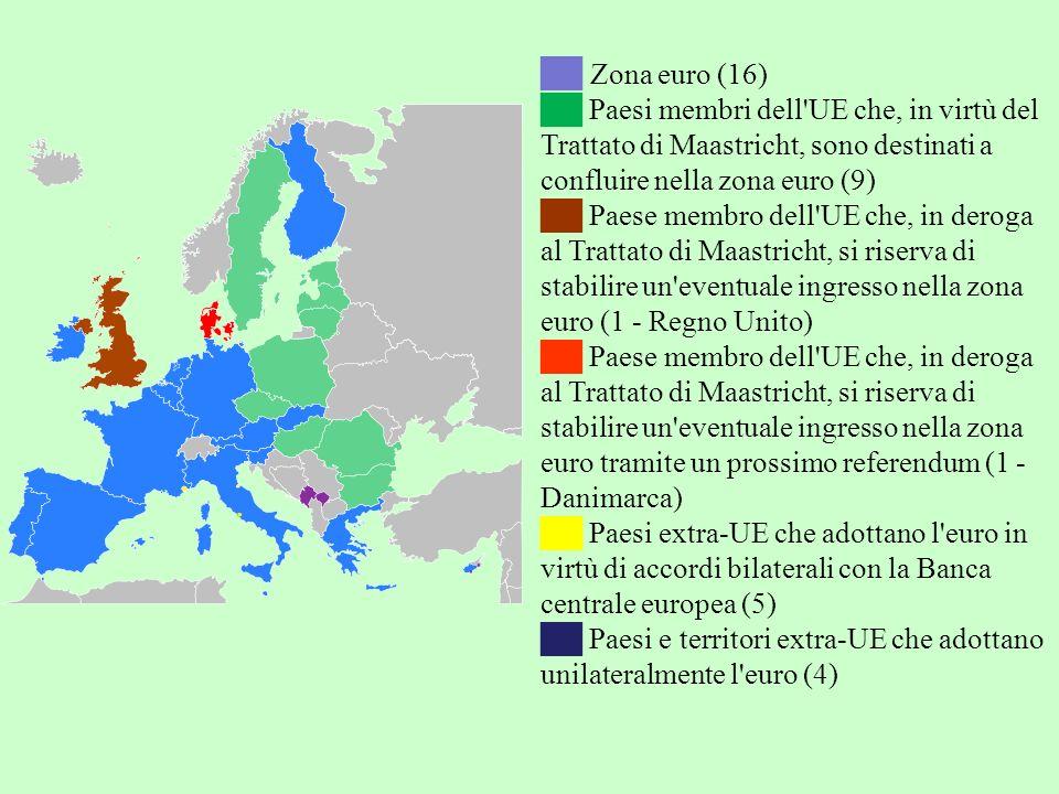 Zona euro (16) Paesi membri dell UE che, in virtù del Trattato di Maastricht, sono destinati a confluire nella zona euro (9) Paese membro dell UE che, in deroga al Trattato di Maastricht, si riserva di stabilire un eventuale ingresso nella zona euro (1 - Regno Unito) Paese membro dell UE che, in deroga al Trattato di Maastricht, si riserva di stabilire un eventuale ingresso nella zona euro tramite un prossimo referendum (1 - Danimarca) Paesi extra-UE che adottano l euro in virtù di accordi bilaterali con la Banca centrale europea (5) Paesi e territori extra-UE che adottano unilateralmente l euro (4)