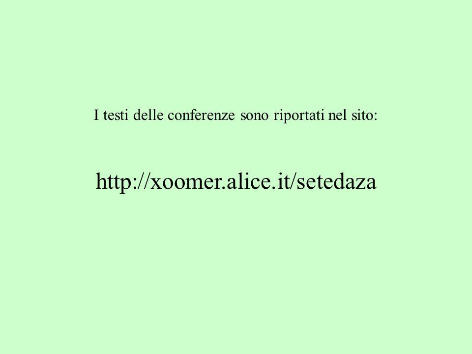 I testi delle conferenze sono riportati nel sito: http://xoomer.alice.it/setedaza