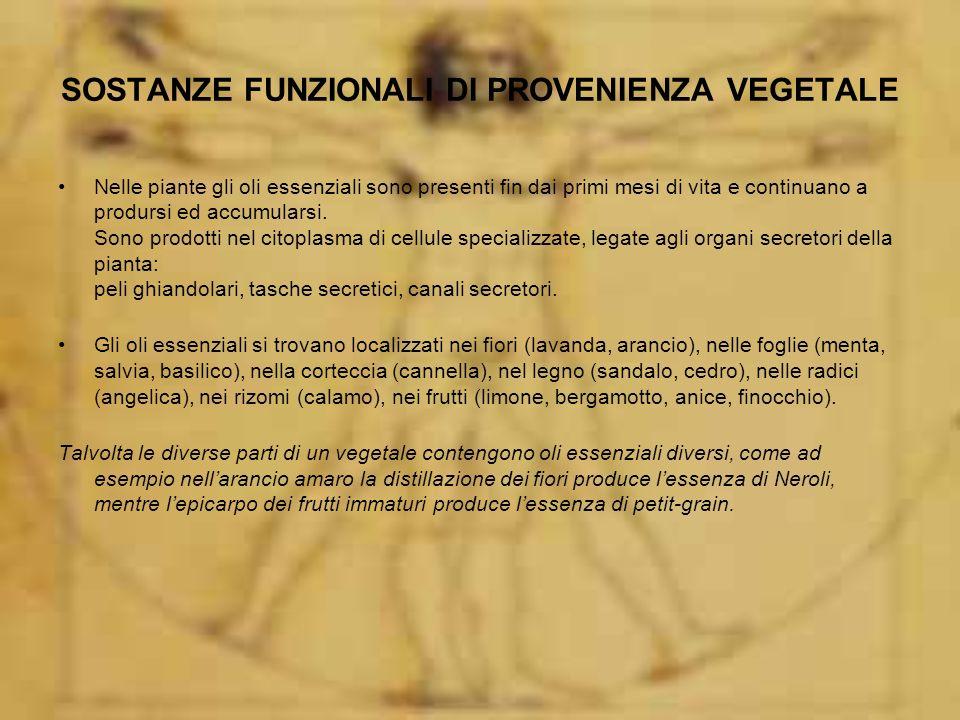 SOSTANZE FUNZIONALI DI PROVENIENZA VEGETALE Nelle piante gli oli essenziali sono presenti fin dai primi mesi di vita e continuano a prodursi ed accumularsi.