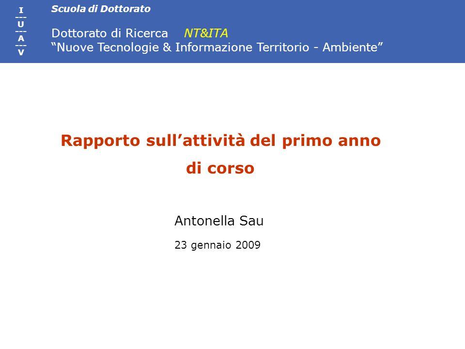 Scuola di Dottorato Dottorato di Ricerca NT&ITA Nuove Tecnologie & Informazione Territorio - Ambiente I --- U --- A --- V Rapporto sullattività del primo anno di corso Antonella Sau 23 gennaio 2009