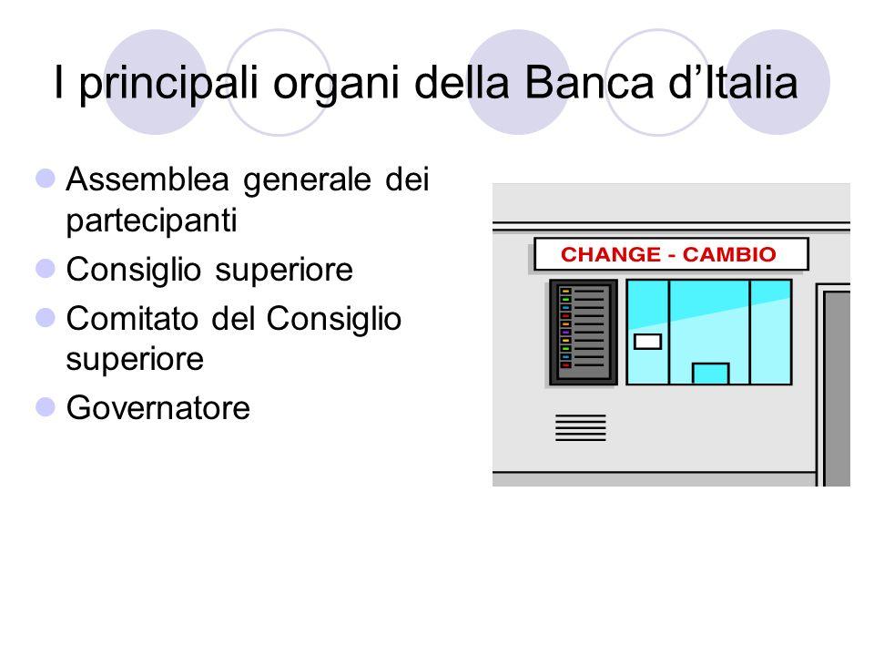 I principali organi della Banca dItalia Assemblea generale dei partecipanti Consiglio superiore Comitato del Consiglio superiore Governatore