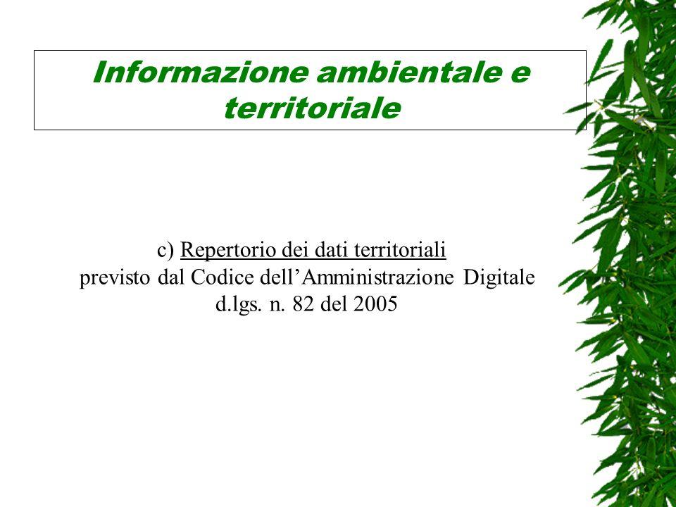 Informazione ambientale e territoriale c) Repertorio dei dati territoriali previsto dal Codice dellAmministrazione Digitale d.lgs.