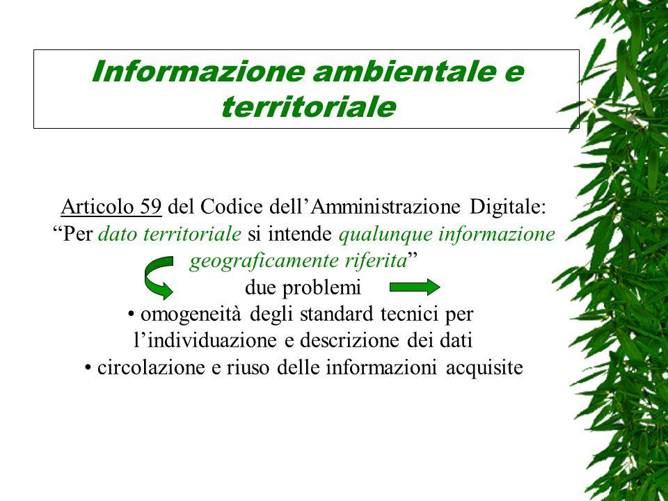 Informazione ambientale e territoriale Articolo 59 del Codice dellAmministrazione Digitale: Per dato territoriale si intende qualunque informazione geograficamente riferita due problemi omogeneità degli standard tecnici per lindividuazione e descrizione dei dati circolazione e riuso delle informazioni acquisite