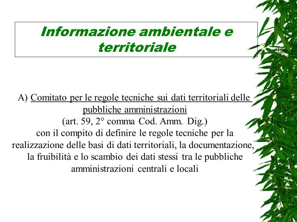 Informazione ambientale e territoriale A) Comitato per le regole tecniche sui dati territoriali delle pubbliche amministrazioni (art.